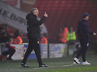 Sheffield United manager Chris Wilder shouts instructions to his team from the technical area<br /> <br /> Photographer Chris Vaughan/CameraSport<br /> <br /> The EFL Sky Bet Championship - Sheffield United v Middlesbrough - Tuesday 10th April 2018 - Bramall Lane - Sheffield<br /> <br /> World Copyright © 2018 CameraSport. All rights reserved. 43 Linden Ave. Countesthorpe. Leicester. England. LE8 5PG - Tel: +44 (0) 116 277 4147 - admin@camerasport.com - www.camerasport.com