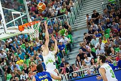 Klemen Prepelic and Goran Dragic of Slovenia during qualifying match between Slovenia and Kosovo for European basketball championship 2017,  Arena Stozice, Ljubljana on 31th August, Slovenia. Photo by Grega Valancic / Sportida
