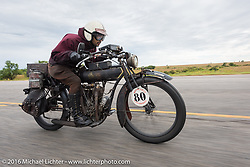 Yoshimasa Niimi of Japan riding his Team-80 Chabott Engineering 1915 Indian twin during the Motorcycle Cannonball Race of the Century. Stage-7 from Springfield, MO to Wichita, KS. USA. Friday September 16, 2016. Photography ©2016 Michael Lichter.
