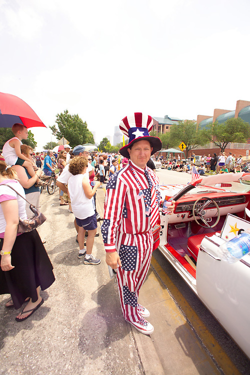 Stock photo of a man dressed in American flag attire