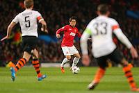 Manchester United's Shinji Kagawa (centre) in action against Shakhtar Donetsk