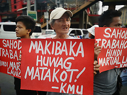 May 27, 2019 - Manila, NCR, Philippines - Different minority, youth and militant group staged a protest against Martial Law in Mindanao, extrajudicial killing, and ROTC. (Credit Image: © Sherbien Dacalanio/Pacific Press via ZUMA Wire)