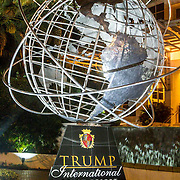 USA/Miami/20150810 - Donald Trump and the world, silver statue of the world by one of his Trump towers in Miami