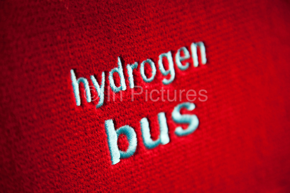 Logo on the seat of the RV1 Hydrogen Bus in London. On this Transport for London bus route Hydrogen fuel cell buses run offering zero emission travel for paying passengers.