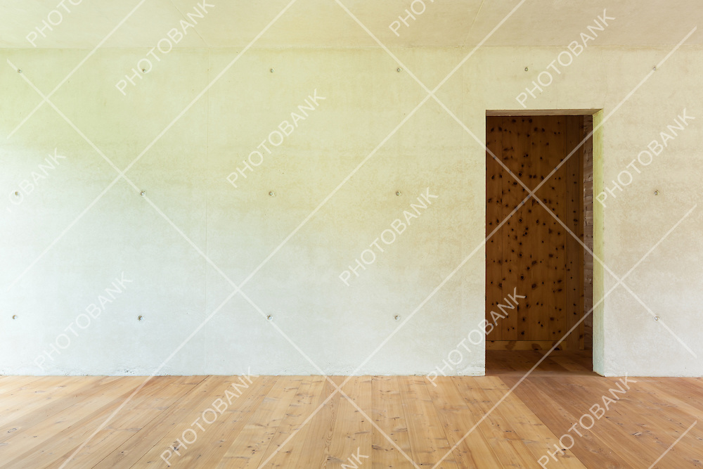 new apartment in cement and wood, concrete wall