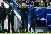 Sheffield Wednesday Manager Carlos Carvalhal sees the funny side of a decision during the EFL Sky Bet Championship match between Sheffield Wednesday and Brentford at Hillsborough, Sheffield, England on 21 February 2017. Photo by Simon Davies.