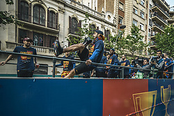 April 30, 2018 - Barcelona, Catalonia, Spain - FC Barcelona forward LUIS SUAREZ jokes around during the FC Barcelona's open top bus victory parade after winning the LaLiga with their eighth double in the club history. (Credit Image: © Matthias Oesterle via ZUMA Wire)