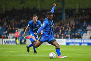 Gillingham FC forward Brandon Hanlan (7) has a shot during the EFL Sky Bet League 1 match between Gillingham and Peterborough United at the MEMS Priestfield Stadium, Gillingham, England on 22 September 2018. Picture by Martin Cole