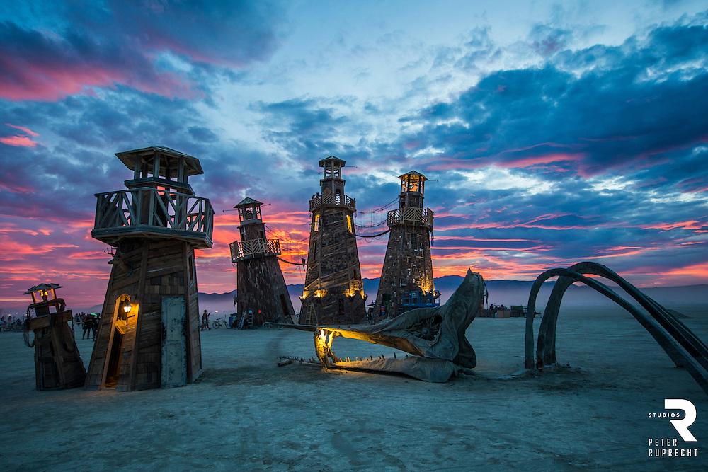 Burning Man - Blackrock Lighthouse Service Photograph - Peter Ruprecht