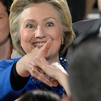 Democratic candidate for President Hillary Clinton shakes hands with supporters as she departs a rally on the campus of Westmoreland County Community College on the eve of the Pennsylvania primary election in Youngwood, Pennsylvania near Pittsburgh on April 25, 2016.   Photo by Archie Carpenter/UPI