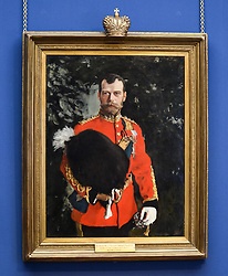 Pictured: The portrait as it goes on display.<br /> <br /> The Scottish National Gallery has unveiled details of a loan deal that will see Valentin Serov's rare portrait of Tsar Nicholas II go on display. The painting is owned by the Royal Scots Dragoon Guards Regimental Trust.<br /> <br /> © Dave Johnston / EEm