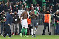 Brothers Saint-Etienne Defender Florentin Pogbaand Paul Pogba Midfielder of Manchester United during the Europa League match between Saint-Etienne and Manchester United at Stade Geoffroy Guichard, Saint-Etienne, France on 22 February 2017. Photo by Phil Duncan.