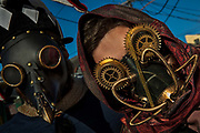 Steam Punk Masks in the Mardi Gras parade on 25th February 2020 in New Orleans, Louisiana, United States. Mardi Gras is the biggest celebration the city of New Orleans hosts every year. The magnificent, costumed, beaded and feathered party is laced with tradition and  having a good time. Celebrations are concentrated for about two weeks before and culminate on Fat Tuesday the day before Ash Wednesday and Lent.