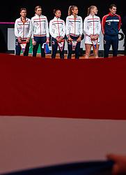 Team Netherlands with Demi Schuurs, Indy de Vroome, Lesley Pattinama Kerkhove, Arantxa Rus, Kiki Bertens and Paul Haarhuis in action in the match against Belarus in the Fed Cup qualifier against Belarus.