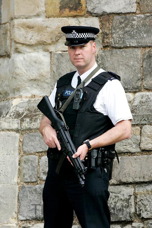 Police armed anti-terrorist security in London, UK