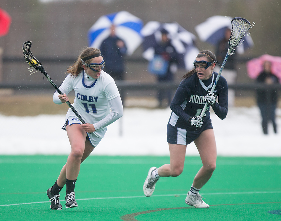 Abby Hatch of Colby College, during a NCAA Division III women's lacrosse game against at Middlebury College on April 4, 2015 in Waterville, ME. (Dustin Satloff/Colby Athletics)