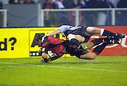 Mark Hammett scores a try, Crusaders v Sharks, Super 12 rugby union, Jade Stadium, Christchurch, 28 April 2001. © Copyright Photo: Sandra Teddy / www.photosport.nz