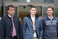 02.10.2015, Nussdorf Gebannt, AUT, Empfang für UCI Juniorenweltmeister Felix Gall, im Bild v.l. BGM Ing. Andreas Pfurner, UCI Juniorenweltmeister Felix Gall, Günther Feuchter (Team Tom Tailor) // during the official reception for the UCI Junior World Champion Felix Gall in his home town. Nussdorf Decant, Austria on 2015/10/02. EXPA Pictures © 2015, PhotoCredit: EXPA/ Johann Groder