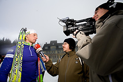 Klemen Bauer interviewed by Simon Kavcic of Siol Sportal after  training session of Slovenian biathlon team before new season 2009/2010,  on November 16, 2009, in Pokljuka, Slovenia.   (Photo by Vid Ponikvar / Sportida)