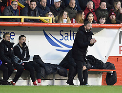 Aberdeen Manager Derek McInnes gives instructions from the touchline during the Scottish Premiership match at Pittodrie Stadium, Aberdeen.