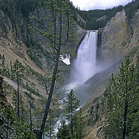 YELLOWSTONE NATIONAL PARK, WYOMING.  Lower Yellowstone Falls & Grand Canyon of Yellowstone River.