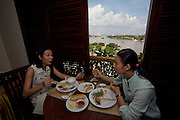 Hotel Majestic, a classic colonial hotel. Lunch at the roof terrace with view across Saigon River.