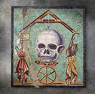 Roman mosaic depicting death (Memento Mori) from Pompeii,  inv no 109982, Naples Archaeological Musum, Italy.  Wall art print by Photographer Paul E Williams If you prefer visit our World Gallery Print Shop To buy a selection of our prints and framed prints desptached  with a 30-day money-back guarantee and is dispatched from 16 high quality photo art printers based around the world. ( not all photos in this archive are available in this shop) https://funkystock.photoshelter.com/p/world-print-gallery .<br /> <br /> USEFUL LINKS:<br /> Visit our other HISTORIC AND ANCIENT ART COLLECTIONS for more photos to buy as wall art prints  https://funkystock.photoshelter.com/gallery-collection/Ancient-Historic-Art-Photo-Wall-Art-Prints-by-Photographer-Paul-E-Williams/C00002uapXzaCx7Y