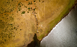 April 17, 2020: Aerial view of lake at Pilanesberg region in South Africa (Credit Image: © Amazing Aerial via ZUMA Wire)