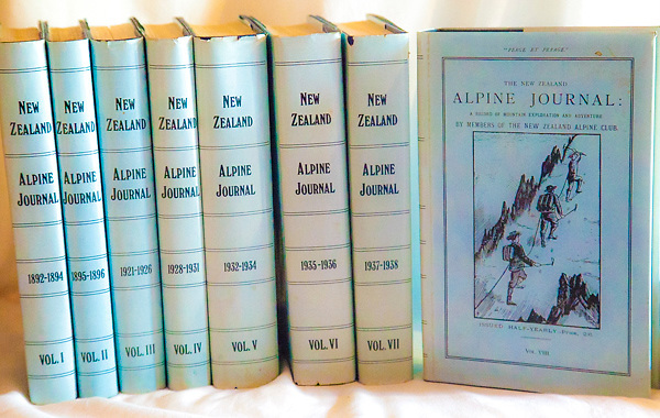 NEW ZEALAND ALPINE JOURNALS -  1892-1940, facsimile set 8 volume hardbacks in VG jackets, published by NZAC 1975. This set #262 of a limited run of 500. A vital part of any New Zealand mountaineering library...almost impossible to find as originals - $NZ335 ( Bruce Postill Collection)