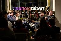 """11 FEB 2020, BERLIN/GERMANY:<br /> Der politische Feierabend Talk """"Ueberstunde"""" mit Gast Gerhard Schroeder (R), SPD, Bundeskanzler a.D., und den Moderatoren Marina Weisband (2.v.L.), Publizistin, und Michael Broecker (L), Chefredakteur Media Pioneer, Redaktionsraeune Media Pioneer<br /> IMAGE: 20200211-02<br /> KEYWORDS: Überstunde, Gerhard Schröder, Michael Bröcker"""