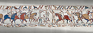 Bayeux Tapestry scene 52:  Harpld brother, Duke of Lewine and Byrd is killed in the Battle of Hastings. .<br /> <br /> If you prefer you can also buy from our ALAMY PHOTO LIBRARY  Collection visit : https://www.alamy.com/portfolio/paul-williams-funkystock/bayeux-tapestry-medieval-art.html  if you know the scene number you want enter BXY followed bt the scene no into the SEARCH WITHIN GALLERY box  i.e BYX 22 for scene 22)<br /> <br />  Visit our MEDIEVAL ART PHOTO COLLECTIONS for more   photos  to download or buy as prints https://funkystock.photoshelter.com/gallery-collection/Medieval-Middle-Ages-Art-Artefacts-Antiquities-Pictures-Images-of/C0000YpKXiAHnG2k