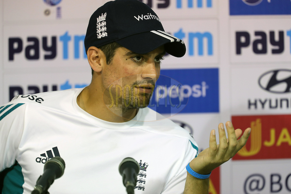 Alastair Cook Captain of England addresses the media during the India and England nets sessions held prior to the start of the 5th test match between India and England in Chennai held at the M. A. Chidambaram Stadium on the 15th December 2016.<br /> <br /> Photo by: Ron Gaunt/ BCCI/ SPORTZPICS