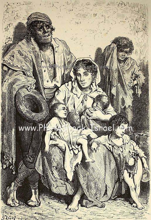 Un Famille de Mendiants a Jaen [A Family of Beggars in Jaen] Page illustration from the book 'L'Espagne' [Spain] by Davillier, Jean Charles, barón, 1823-1883; Doré, Gustave, 1832-1883; Published in Paris, France by Libreria Hachette, in 1874