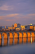 Harrisburg skyline, Susquehanna River, Railroad Bridge Arches