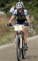 Sykkel , 20 August 2005 , Birkebeinerrittet ,<br /> UCI Mountain Bike Marathon , World Championships ,<br /> Lillehammer - Norway ,<br /> <br /> Gunn - Rita Dahle , Norge ble verdensmester på hjemmebane .Her er hun på vei opp Elgåsen med en ledelse på to minutter.