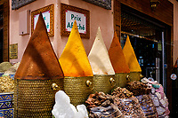 MARRAKESH, MOROCCO - CIRCA APRIL 2018: Shop at the spice market in Marrakesh
