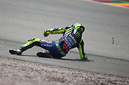 #46 Valentino Rossi, Italian: Movistar Yamaha MotoGP loses the front end as he crashes during the HJC Helmets Motorrad Grand Prix Deutschland at Hohenstein-Ernstthal, Chemnitz, Saxony, Germany on 6 July 2019.