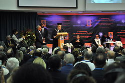 """Magistralis Degree at the Dalai Lama 21/09/2017-Pisa-Italy event by the lama At the Palazzo dei Congressi in Pisa on the last day of """"The Mindscience of Reality"""" where with the Ceremony for the Graduation of the Degree Magistralis Honoris Cause in Clinical Psychology and Health delivered to Tenzin Gyatso XIV Dalai Lama. In Photos: SS Dalai Lama during his Lectio Magistralis in the Auditorium of the Congress Palace. Photos RobertoCappa photojournalism."""