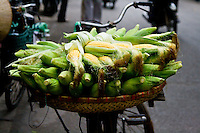 A basket of sweet corn on the back of a bicycle.