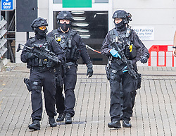 © Licensed to London News Pictures. 19/07/2020. Brighton, UK. Armed police  outside the Sussex Royal Hospital in Brighton And Hove after one male member of staff was stabbed by a member of the public. Photo credit: Hugo Michiels/LNP