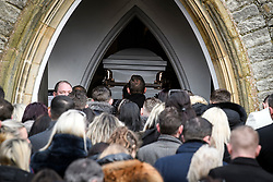 "© Licensed to London News Pictures. 13/02/2020. Sevenoaks, UK. The coffins arrive at St John the Baptist church in Sevenoaks, Kent for he funeral of traveller brothers Billy and Joe Smith. The twin brothers, who were made famous by the television programme ""My Big Fat Gypsy Wedding"", were found hanged in woodland three days after Christmas. Photo credit: Ben Cawthra/LNP"