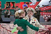 Moscow, Russia, 08/05/2005..Russia celebrates the 60th anniversary of the end Second World War, generally referred to in Russia as the Great Patriotic War.  A miltary veteran dances to wartime music during a parade in central Moscow...