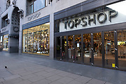 Topshopflagship store on Oxford Street the famous shopping district as it is announced that Arcadia, its parent company is to go into administration, threatening 13,000 jobs on 1st December 2020 in London, United Kingdom. Arcadia, who own Topshop, Burton and Dorothy Perkins, have struggled during the coronavirus pandemic and huge competition by other online fashion retailers.