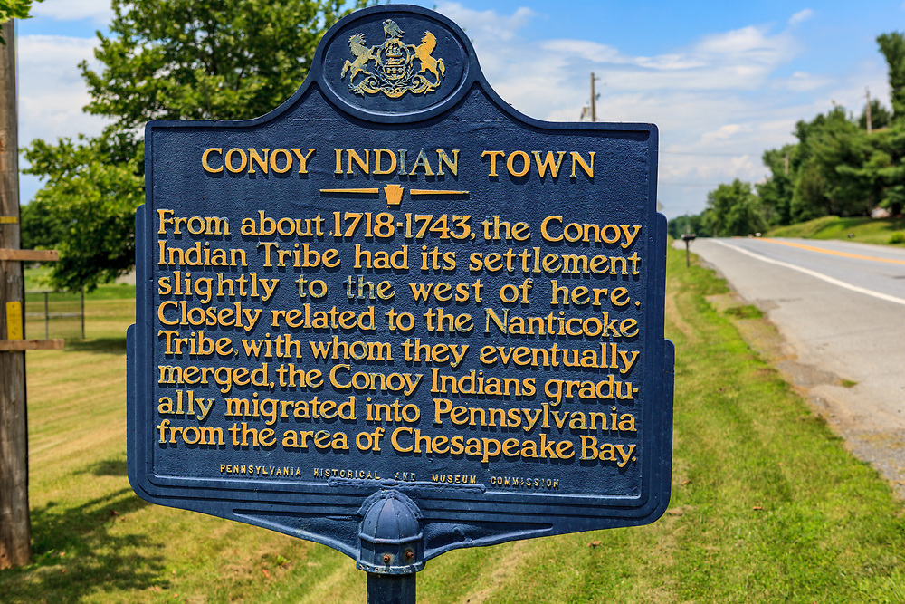 Bainbridge, PA, USA - June 24, 2011: A historic marker for Conoy Indian Town in Lancaster County.