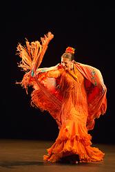 "© Licensed to London News Pictures. 21/03/2013. London, England. Soloist: Patricia Guerrero. Ballet Flamenco de Andalucía perform ""Metáfora"" during the Flamenco Festival London 2013 at Sadler's Wells Theatre. Female Dancers: Fara Vázquez, Ana Agraz, Arta Arias, Maise Márquez and Sara Arévalo. Solo dancer: Patricia Guerrero. Photo credit: Bettina Strenske/LNP"