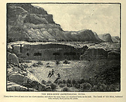 THE ROCK-HEWN AMPHITHEATRE, PETRA, Jordan. Thirty-three tiers of seats rise one above another, and above the seats there are chambers hewn in the rock. The brook of 'Ain Milsa, bordered with verdure, flows across the arena. Wood engraving of from 'Picturesque Palestine, Sinai and Egypt' by Wilson, Charles William, Sir, 1836-1905; Lane-Poole, Stanley, 1854-1931 Volume 3. Published in by J. S. Virtue and Co 1883
