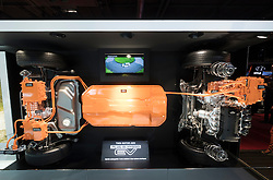 View of Mitsubishi EV plug-in hybrid crossover chassis and powertrain with twin motor 4WD for Outlander at Paris Motor Show 2016