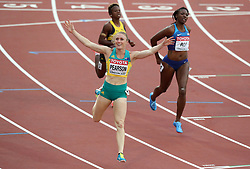 Australia's Sally Pearson celebrates winning heat 1 of the Women's 100m hurdles semi final during day eight of the 2017 IAAF World Championships at the London Stadium.