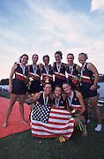 Trakai, LITHUANIA. USA JW8+  Bow Carla BEZOLD, Katie VERHEY, Ali CROCKER, Alexis PETERSON, Kate DAVISON, Ashley JONES, Stesha CARLE, Rachel JEFFERS  and Cox Kate GORMAN,  Bronze medalist, 2002 Junior World Rowing Championships, on Lake Galva Wednesday  07/08/2002 [Mandatory Credit: Peter Spurrier/ Intersport Images] 200208 Junior World Rowing Championships, Trakai, LITHUANIA