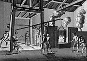Casting cannon: tapping furnace to allow molten metal to run into the moulds a feet of workmen on left. On right, puddler is skimming off impurities. From Denis Diderot 'Encyclopedie', Paris, 1751-1780.